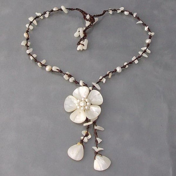 Cotton Mother of Pearl Shell/ Pearl Flower Rope Necklace (Thailand)