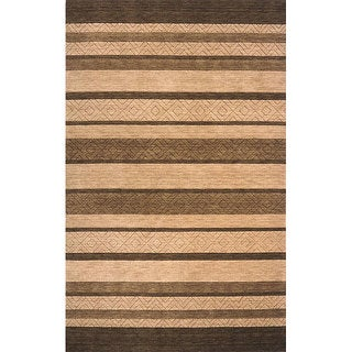 Hand-loomed Brown Stripes Wool Rug (7'6 x 9'6)