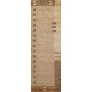 "Loft Brown Dots/ Dashes Hand-Loomed Wool Rug (2'6"" x 8')"