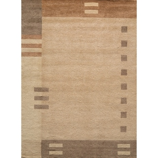 Loft Brown Dots/ Dashes Hand-Loomed Wool Rug (5' x 8')
