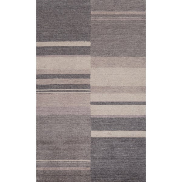 Loft Charcoal Stripes Hand-Loomed Wool Rug (7'6 x 9'6)