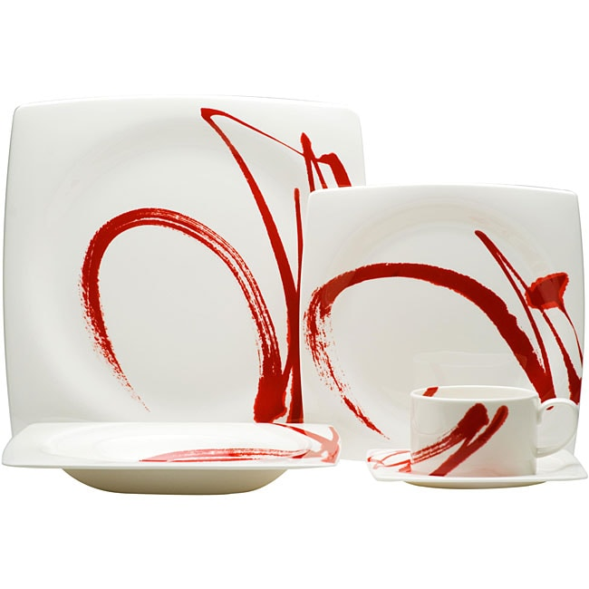 Red vanilla paint it red 5 piece dinnerware set free - Vajillas modernas ...