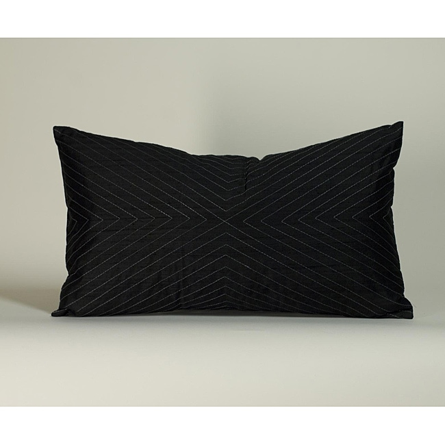 'V' Black 12x20-inch Decorative Pillow