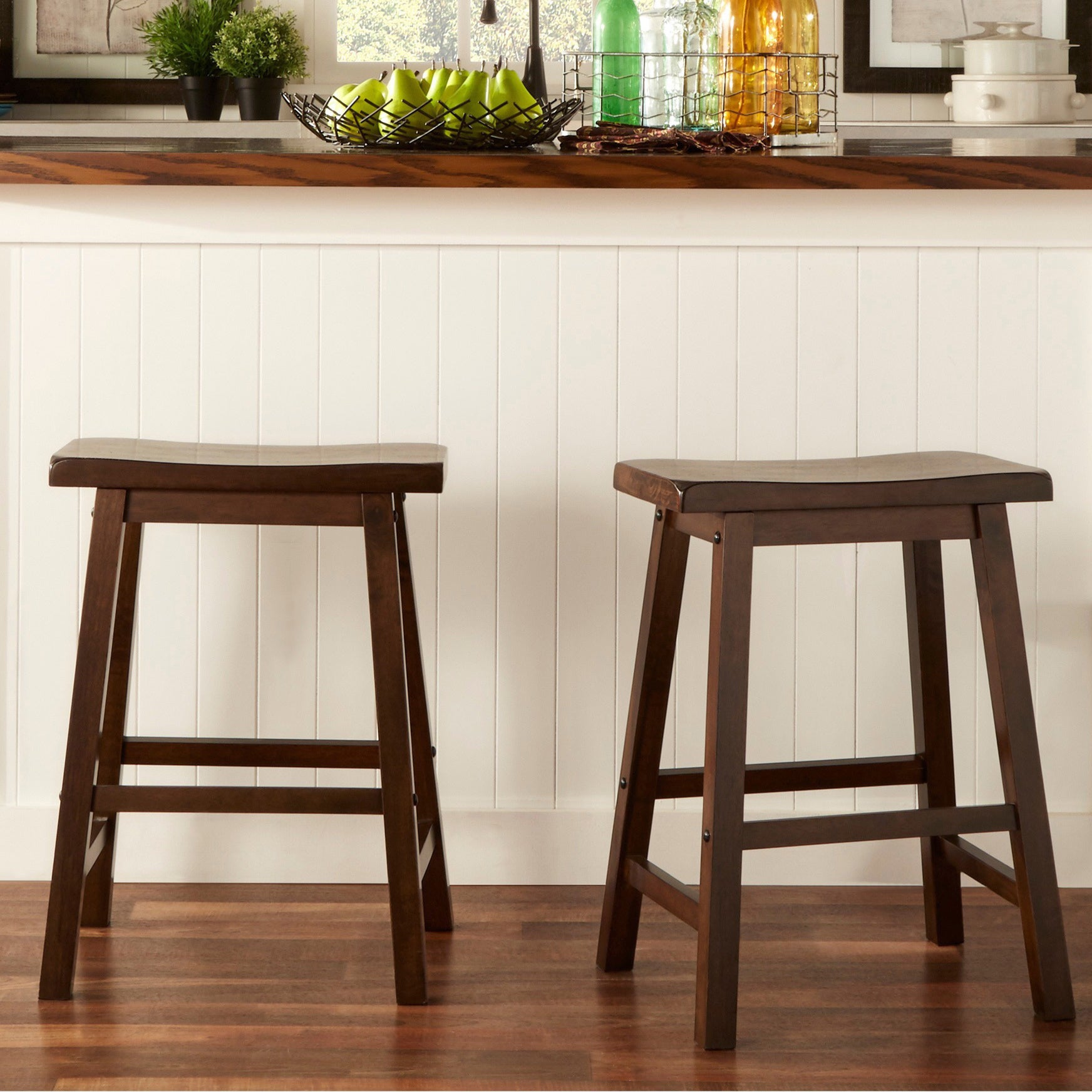 Salvador Saddle Back 24 Inch Counter Height Backless Stool