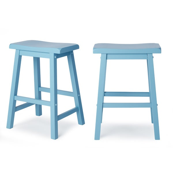 Salvador Saddle Back 24-inch Counter Height Backless Stool by INSPIRE Q (Set of 2)