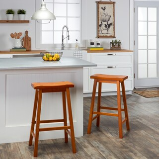 Salvador Saddle 29-inch Counter Height Backless Stools (Set of 2) by iNSPIRE Q Bold (Option: Honey Oak)