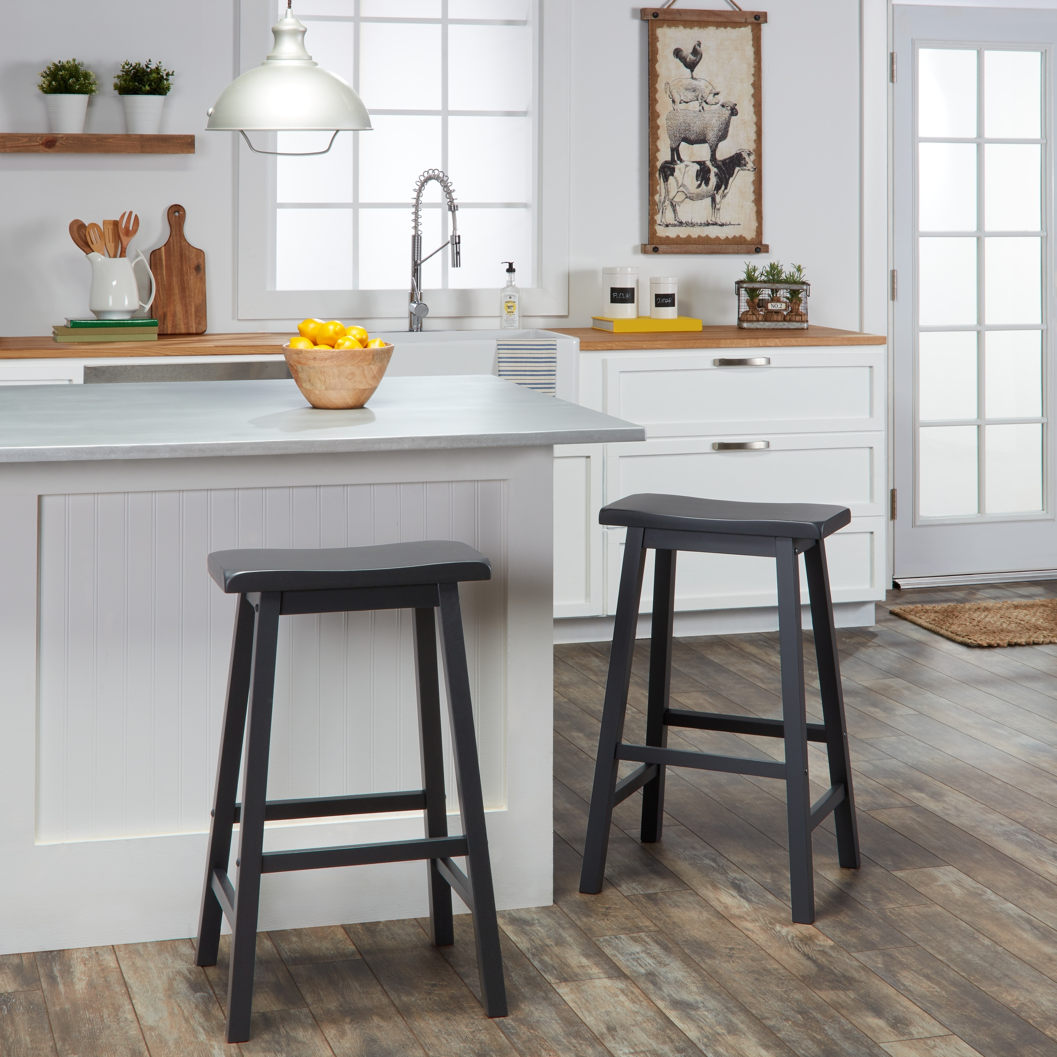 Bar Stools Set Of 2 Saddle Seat Wood Kitchen Dining