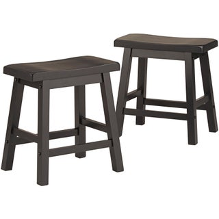 Salvador Saddle Back 18-inch Backless Stool (Set of 2) by iNSPIRE Q Bold (Option: Charcoal Black)