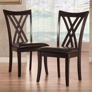 TRIBECCA HOME Almeria Espresso Double X-back Faux Leather Chairs (Set of 2)