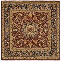 Safavieh Handmade Classic Kerman Burgundy/ Navy Wool Rug - 8' x 8' Square