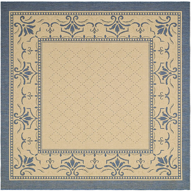 Safavieh Royal Natural/ Blue Indoor/ Outdoor Rug (6' 7 Square)