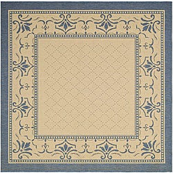 Safavieh Indoor/ Outdoor Royal Natural/ Blue Rug (6' 7 Square)
