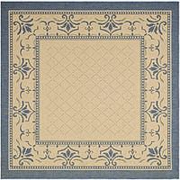 Safavieh Royal Natural/ Blue Indoor/ Outdoor Rug (6' 7 Square) - 6' 7 Square