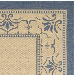 Safavieh Royal Natural/ Blue Indoor/ Outdoor Rug (7'10 Square) - Thumbnail 1