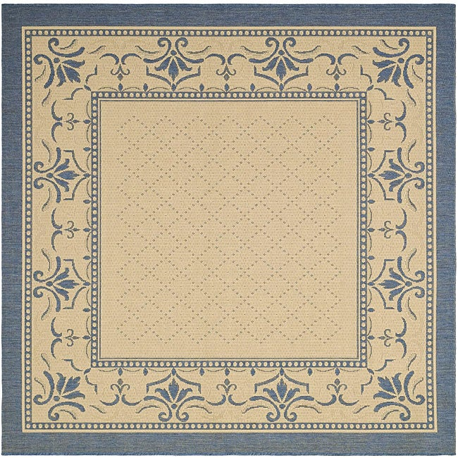 Safavieh Royal Natural/ Blue Indoor/ Outdoor Rug (7'10 Square)