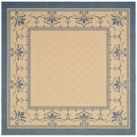 "Safavieh Royal Natural/ Blue Indoor/ Outdoor Rug - 7'10"" x 7'10"" square"