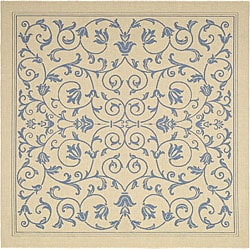 Safavieh Resorts Scrollwork Natural/ Blue Indoor/ Outdoor Rug (6' 7 Square)