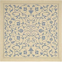 "Safavieh Resorts Scrollwork Natural/ Blue Indoor/ Outdoor Rug - 6'7"" x 6'7"" square"