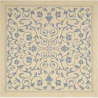 Safavieh Resorts Scrollwork Natural/ Blue Indoor/ Outdoor Rug - 6'7