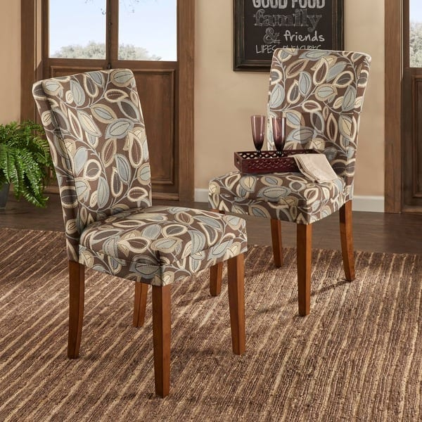 Excellent Shop Tribecca Home Leaf Print Accent Parson Dining Chairs Alphanode Cool Chair Designs And Ideas Alphanodeonline