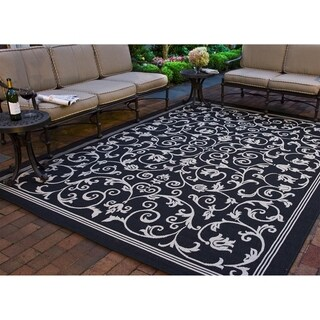 "Safavieh Resorts Scrollwork Black/ Sand Indoor/ Outdoor Rug - 6'7"" x 6'7"" square"