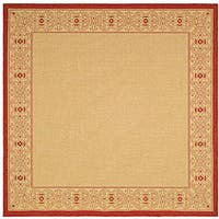 Safavieh Oceanview Natural/ Red Indoor/ Outdoor Rug (6' 7 Square) - 6'7