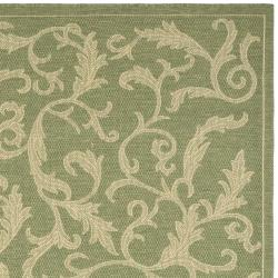Safavieh Mayaguana Olive Green/ Natural Indoor/ Outdoor Rug (6' 7 Square) - Thumbnail 1