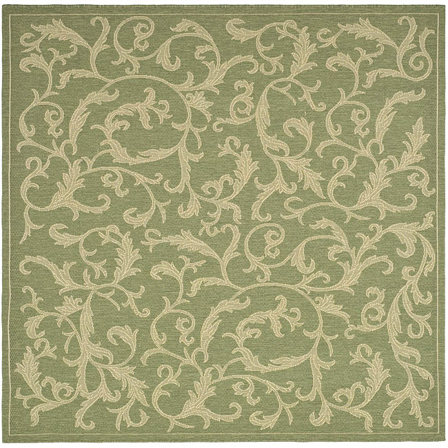 Safavieh Mayaguana Olive Green/ Natural Indoor/ Outdoor Rug (6' 7 Square)