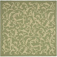 "Safavieh Mayaguana Olive Green/ Natural Indoor/ Outdoor Rug - 7'10"" x 7'10"" square"