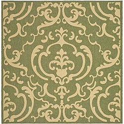 Safavieh Bimini Damask Olive Green/ Natural Indoor/ Outdoor Rug (7'10 Square)