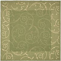 Safavieh Oasis Scrollwork Olive Green/ Natural Indoor/ Outdoor Rug (7'10 Square)