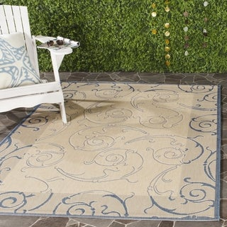 Safavieh Oasis Scrollwork Natural/ Blue Indoor/ Outdoor Rug (7'10 Square)