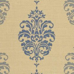 Safavieh St. Martin Damask Natural/ Blue Indoor/ Outdoor Rug (7'10 Square) - Thumbnail 2