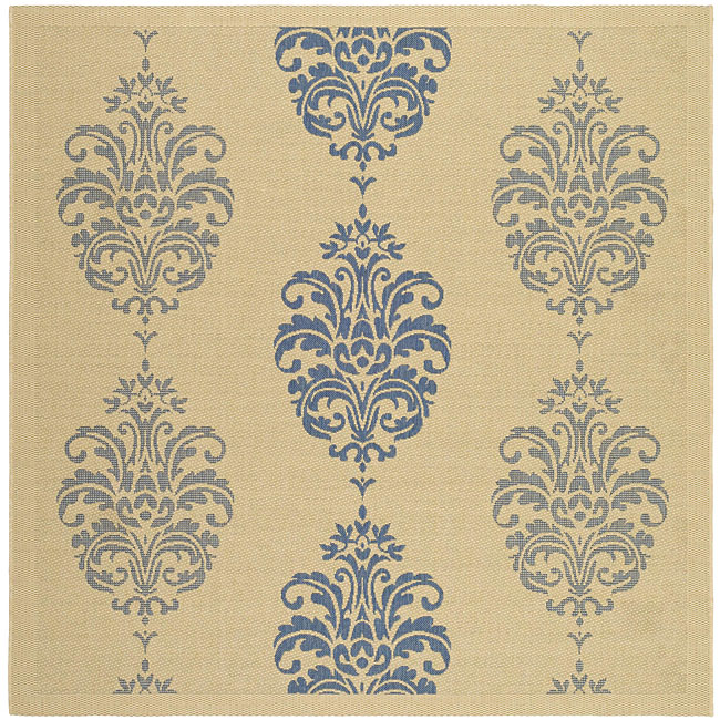 Safavieh St. Martin Damask Natural/ Blue Indoor/ Outdoor Rug (7'10 Square) - Thumbnail 0