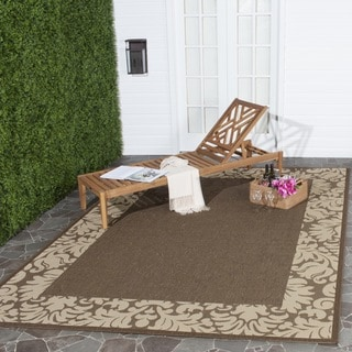 Safavieh Kaii Damask Chocolate/ Natural Indoor/ Outdoor Rug (6' 7 Square)