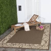 "Safavieh Kaii Damask Chocolate/ Natural Indoor/ Outdoor Rug - 6'7"" x 6'7"" square"