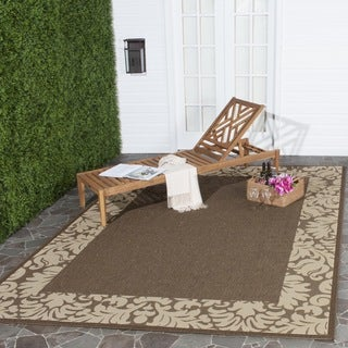 Safavieh Kaii Damask Chocolate/ Natural Indoor/ Outdoor Rug (7'10 Square)