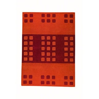 M.A.Trading Hand-tufted Domino Orange Wool Rug (5'6 x 7'10)