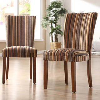 TRIBECCA HOME Brown Stripe Print Parson Dining Chairs (Set of 2)