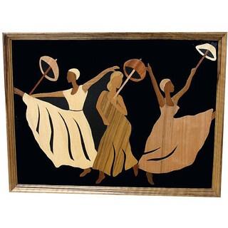 Handmade Wood Overlay 'The Joyful Dance' Wall Art (Ghana)
