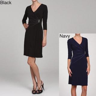 Connected Apparel Women's Starburst Faux-wrap Dress