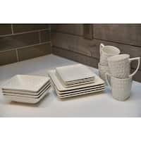Red Vanilla 'Vanilla Marble' 16-piece Rectangular Dinnerware Set