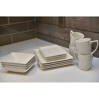 Red Vanilla 'Vanilla Marble' 16-piece Rectangular Dinnerware Set