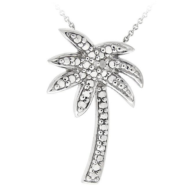 DB Designs Sterling Silver Diamond Accent Palm Tree Necklace