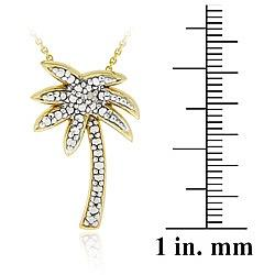 DB Designs 18k Gold over Sterling Silver Diamond Accent Palm Tree Necklace - Thumbnail 2