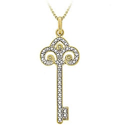 DB Designs 18k Gold over Sterling Silver Diamond Accent Key Necklace
