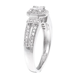 10k White Gold 1/2ct TDW Diamond Princess and Round-cut Engagement Ring (H-I, I1-I2) - Thumbnail 1