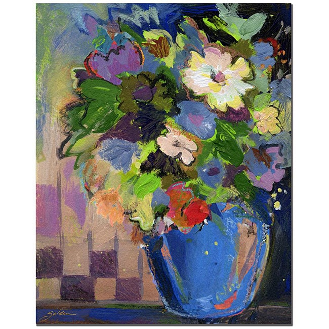 Sheila Golden 'Cobalt Vase with Purple' Canvas Art