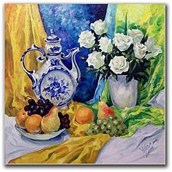 Yelena Lamm 'Still Life with Blue Teapot' Canvas Art
