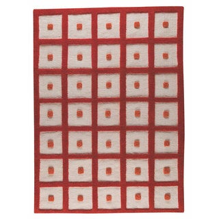 M.A.Trading Hand-woven Frame Orange Wool Rug (5'6 x 7'10)